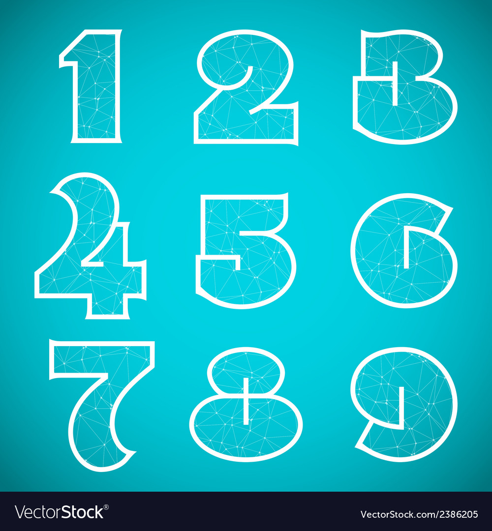 Connections alphabet font set 4 numbers 1 to 9 vector | Price: 1 Credit (USD $1)