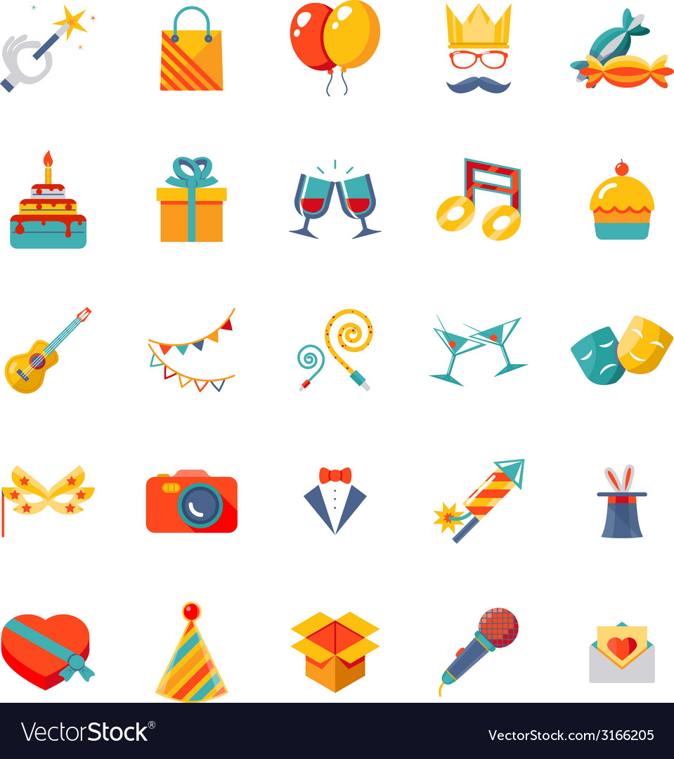 Flat modern trendy isolated icons set gift party vector | Price: 1 Credit (USD $1)