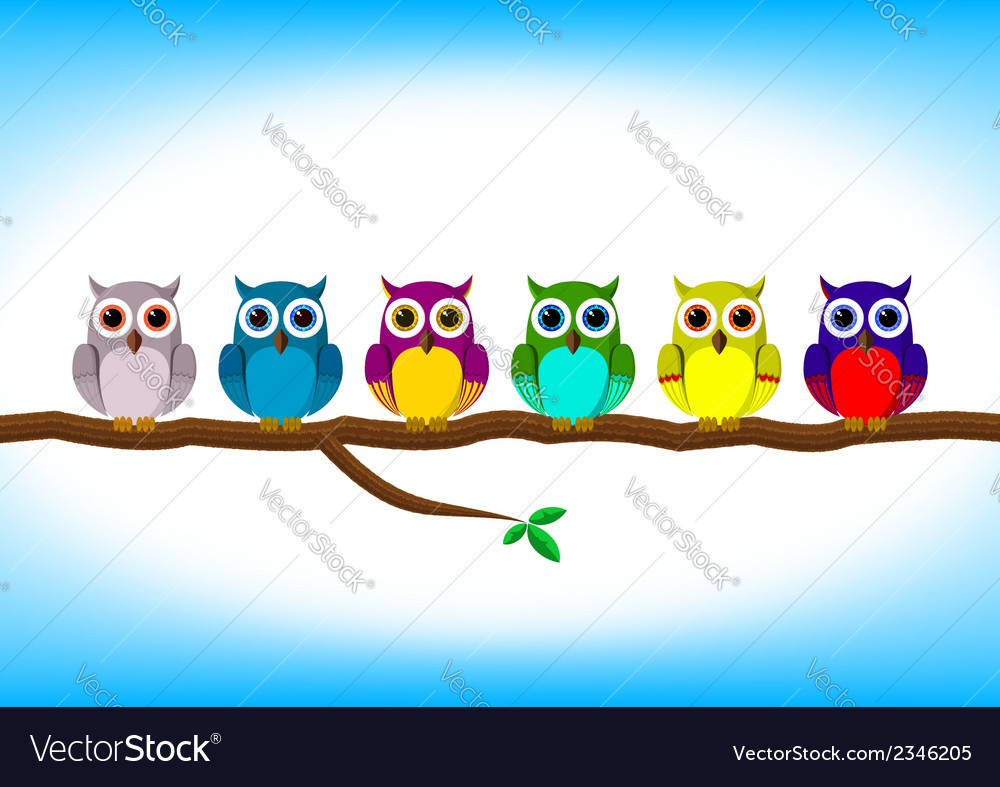 Funny colorful owls in a row vector | Price: 1 Credit (USD $1)