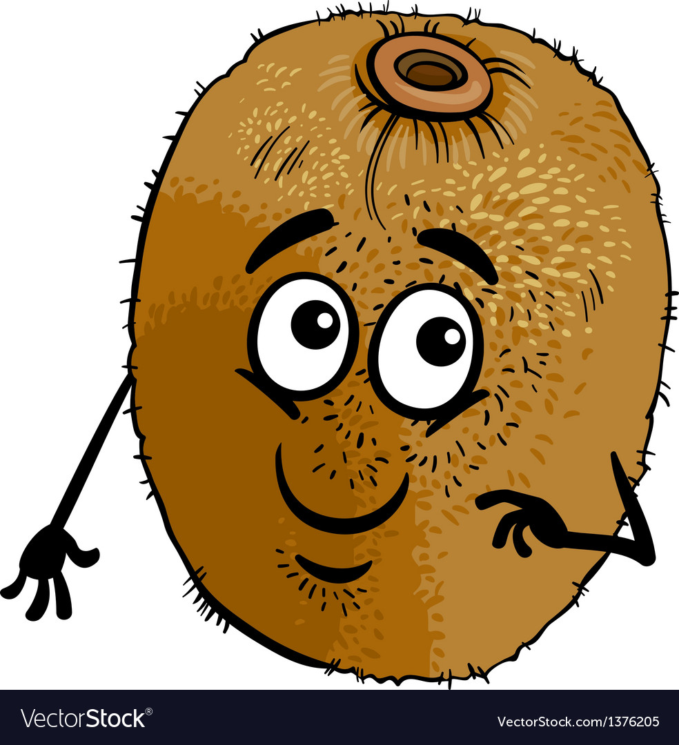 Funny kiwi fruit cartoon vector | Price: 1 Credit (USD $1)