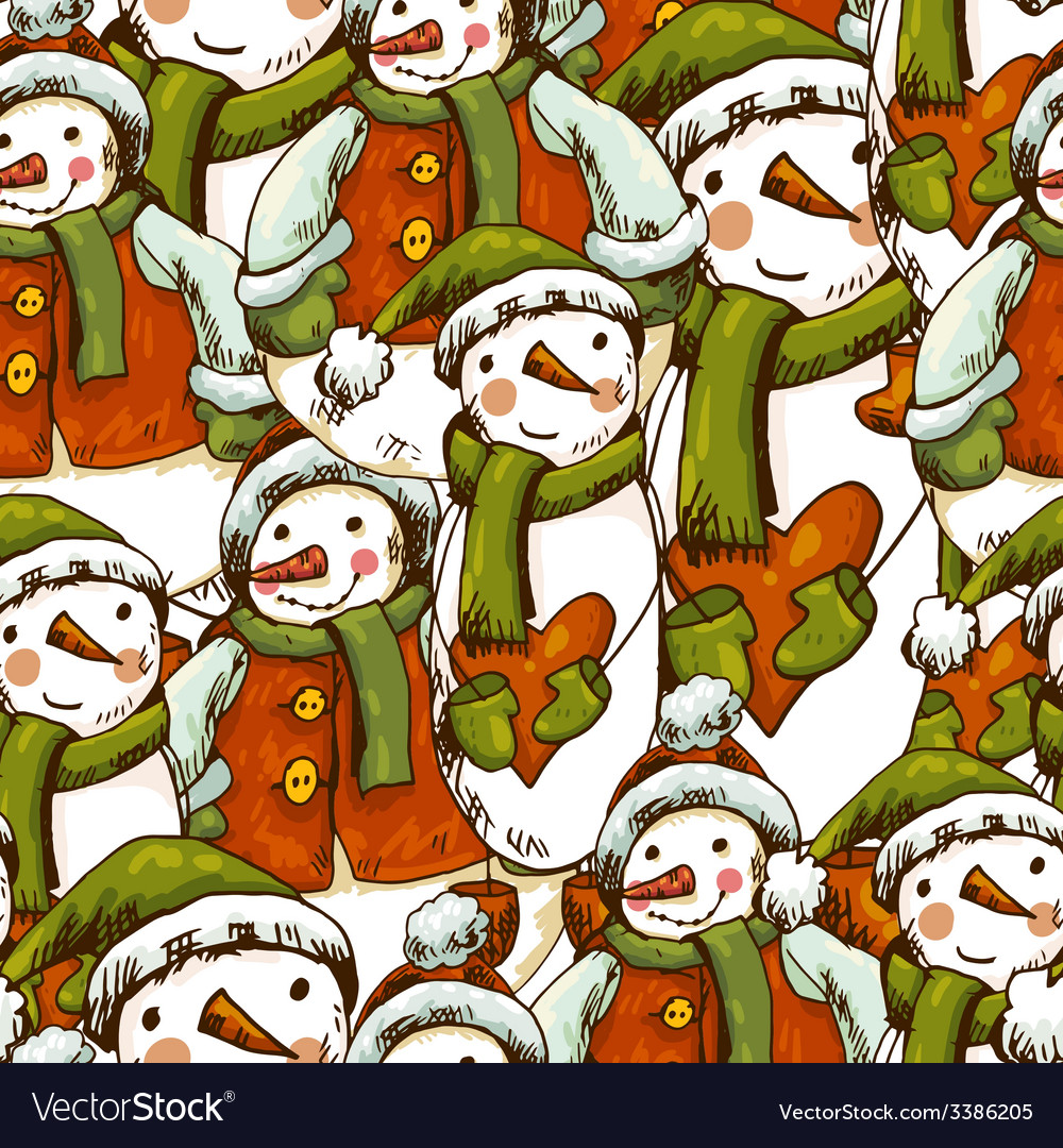 Hand-drawn christmas seamless background vector | Price: 1 Credit (USD $1)