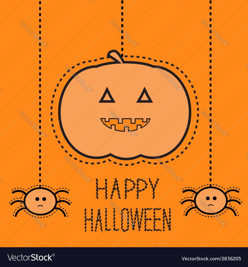 Hanging pumpkin and two spiders dash line vector | Price: 1 Credit (USD $1)