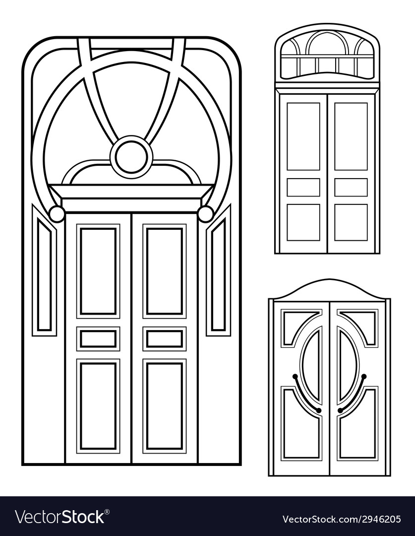 Retro doors set vector | Price: 1 Credit (USD $1)