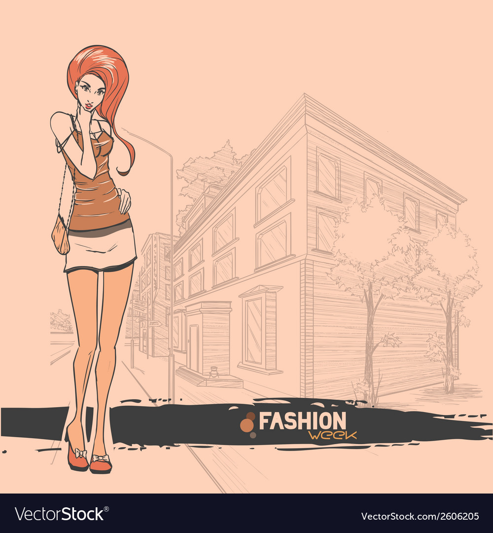 Urban city and sexy girl in short skirt vector | Price: 1 Credit (USD $1)