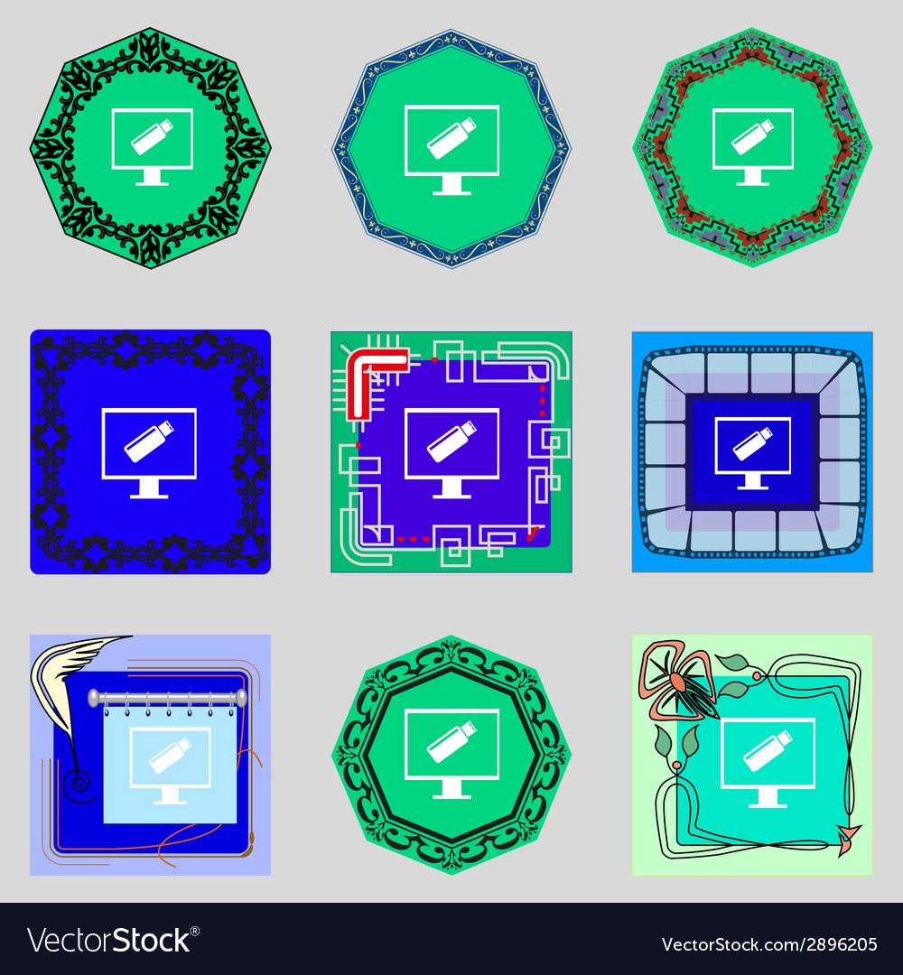 Usb flash drive and monitor sign icon video game vector   Price: 1 Credit (USD $1)