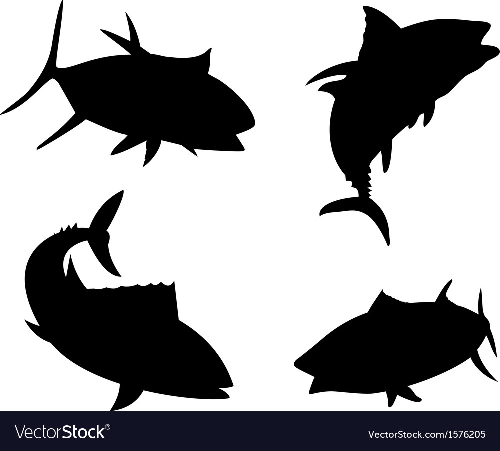 Yellow fin tuna fish silhouette vector | Price: 1 Credit (USD $1)