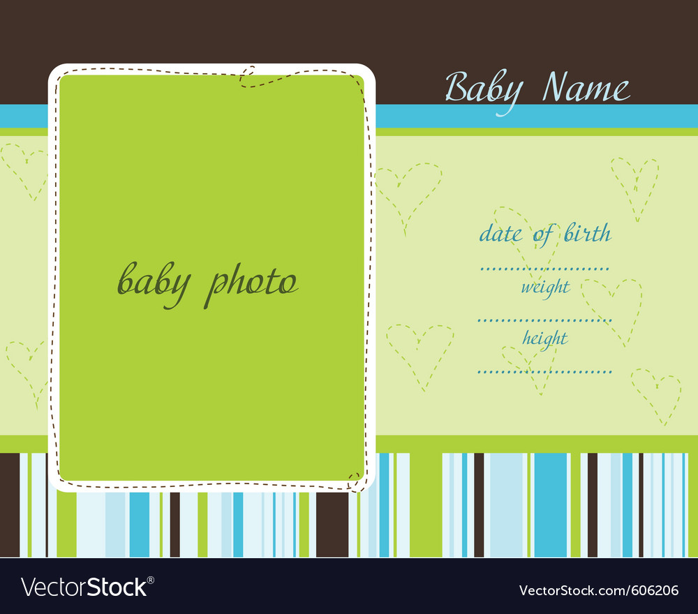 Baby arrival card with photo frames vector | Price: 1 Credit (USD $1)