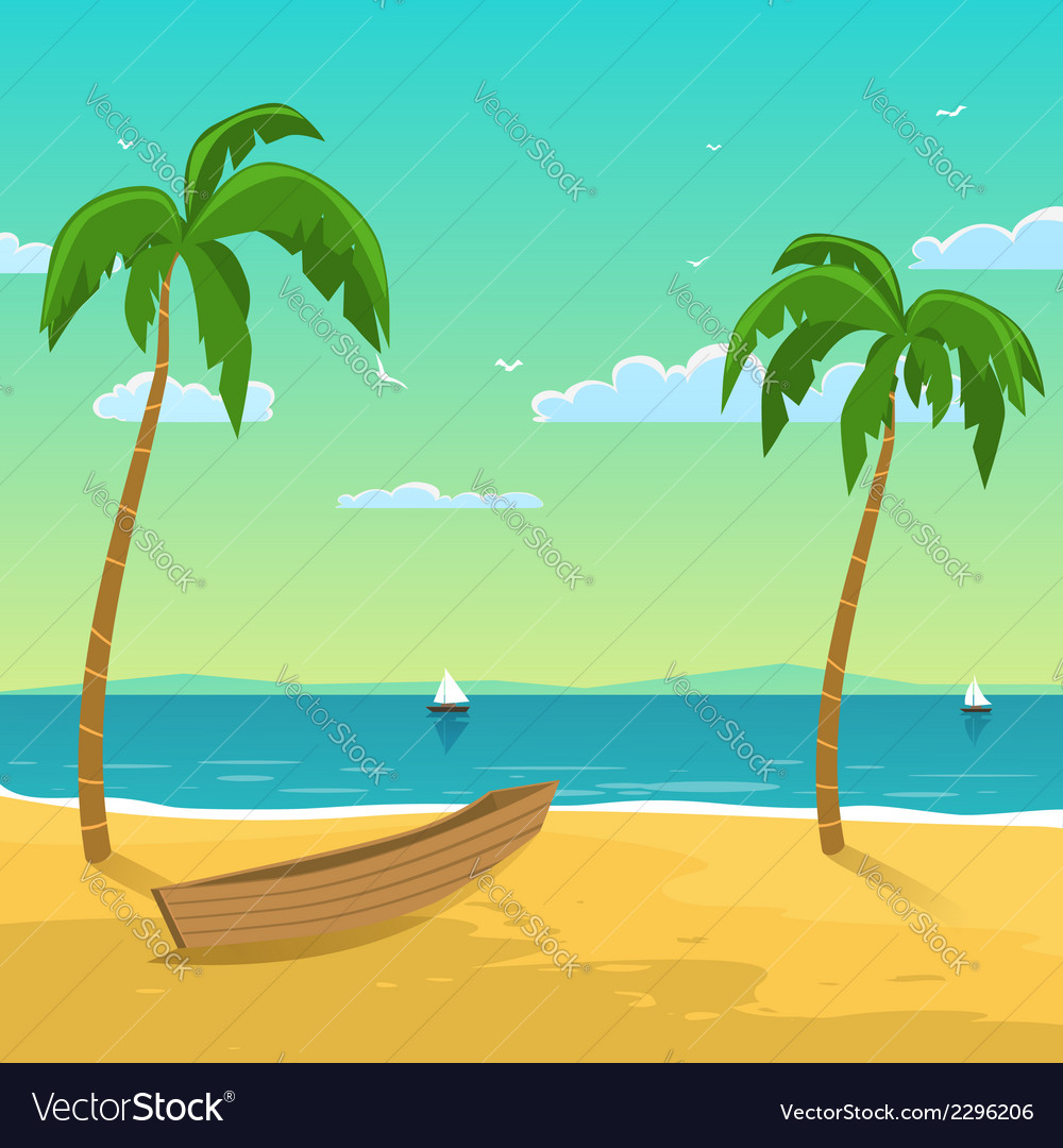 Boat on the beach vector | Price: 3 Credit (USD $3)