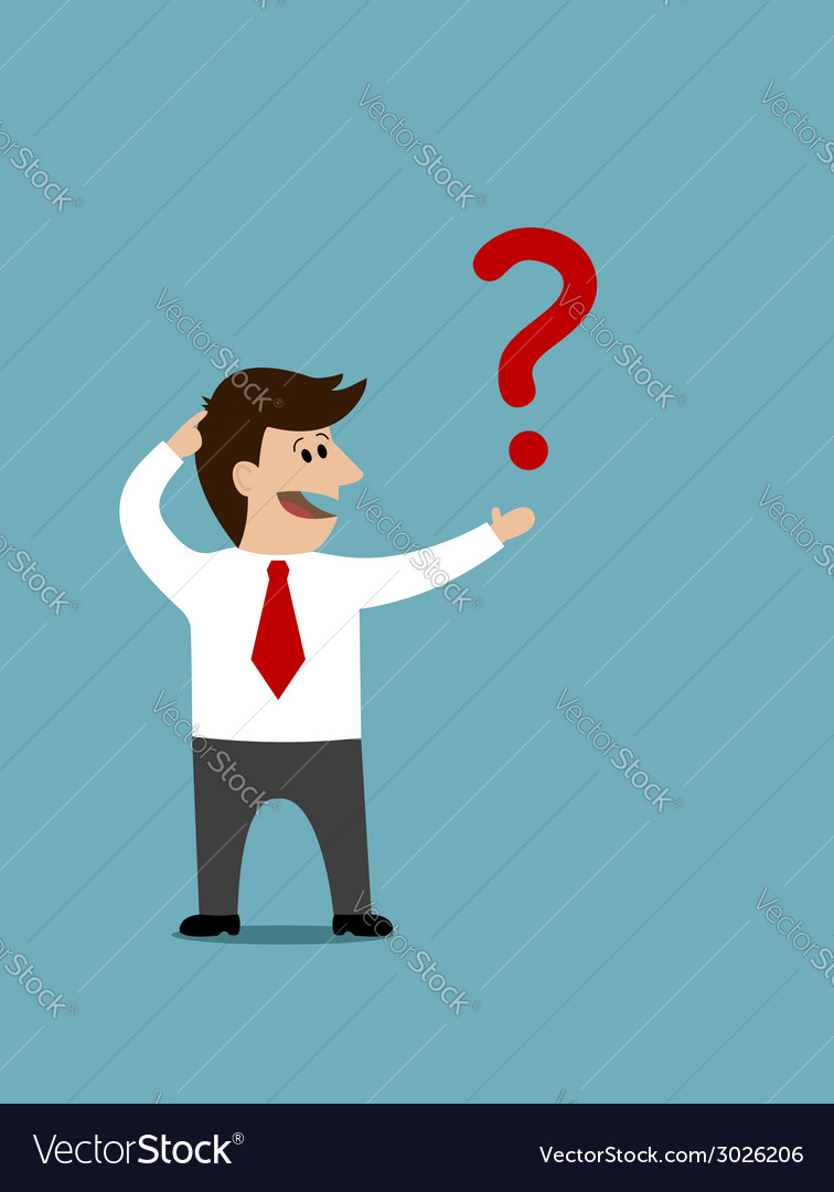 Cartoon man holding a question mark vector | Price: 1 Credit (USD $1)
