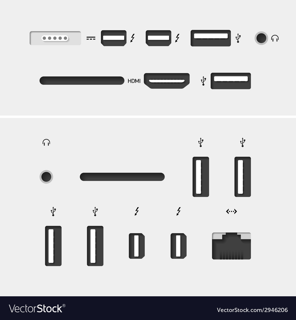 Computer connectors vector | Price: 1 Credit (USD $1)