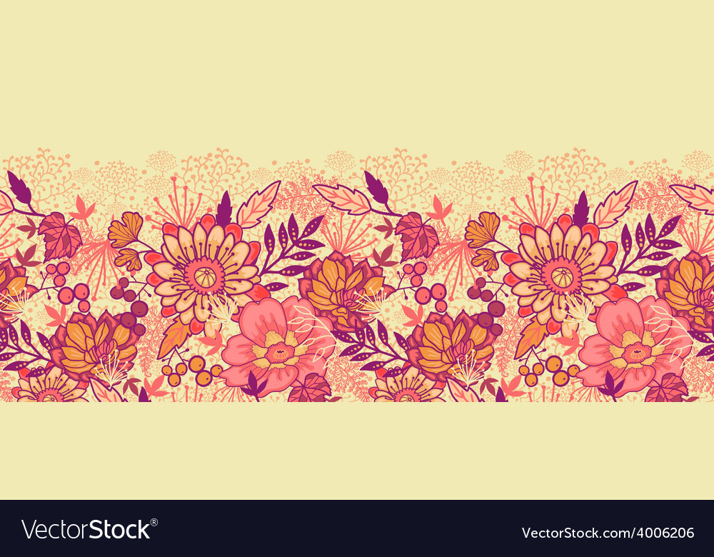 Fall flowers horizontal seamless pattern vector | Price: 1 Credit (USD $1)