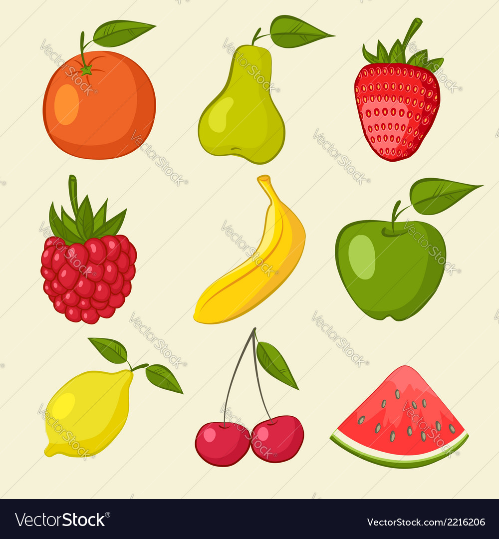 Fruit and berries icons vector | Price: 1 Credit (USD $1)