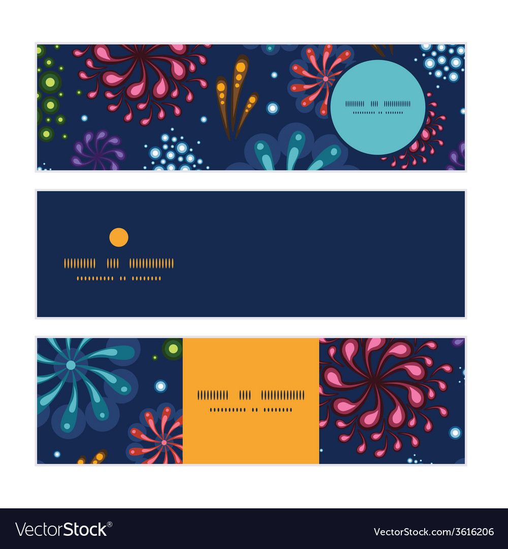 Holiday fireworks horizontal banners set pattern vector | Price: 1 Credit (USD $1)