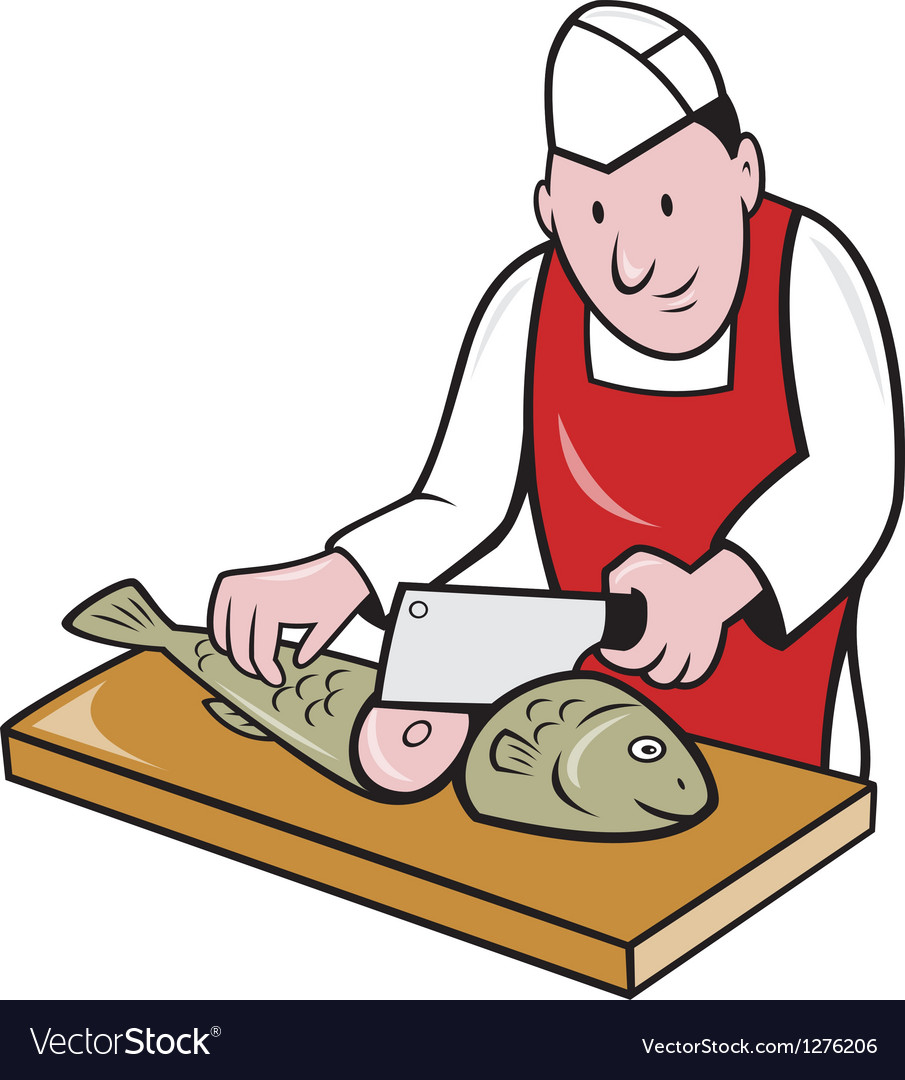 Sushi chef butcher fishmonger cartoon vector | Price: 1 Credit (USD $1)