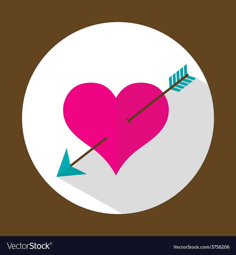 Valentine heart flat icon with long shadow vector | Price: 1 Credit (USD $1)