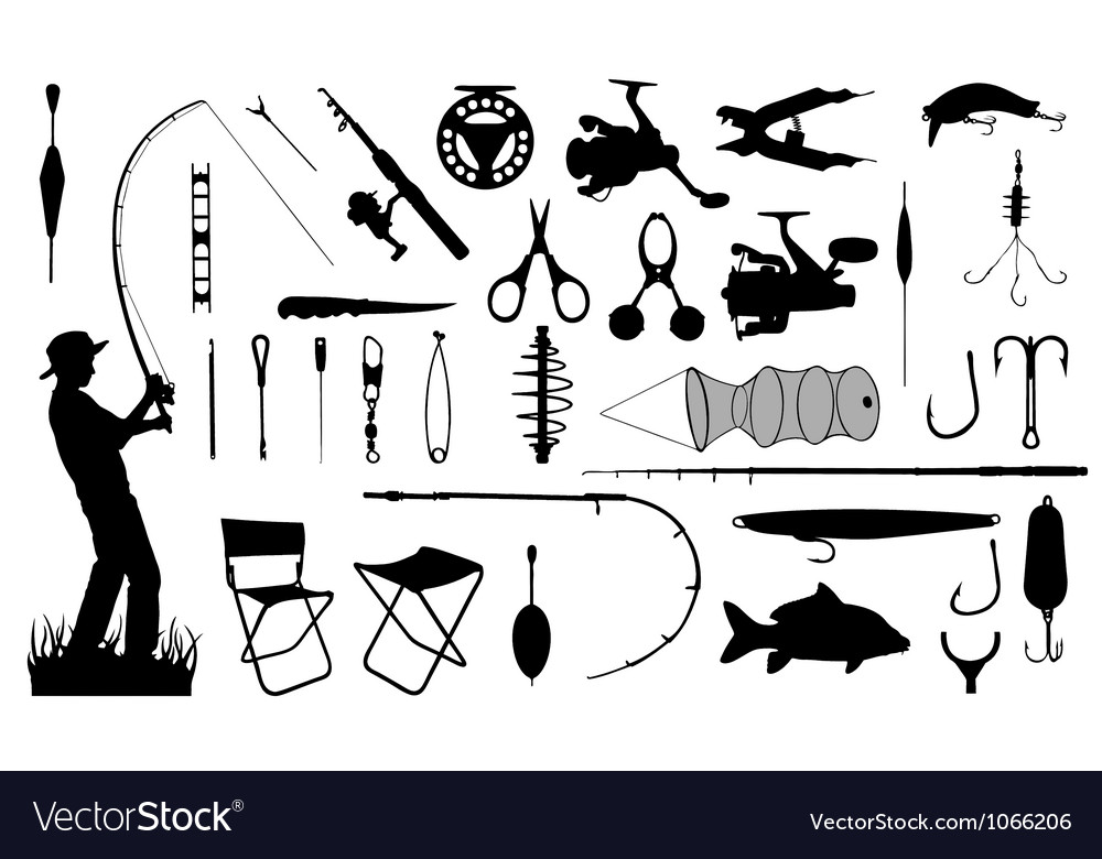 Various fishing tools set vector | Price: 1 Credit (USD $1)