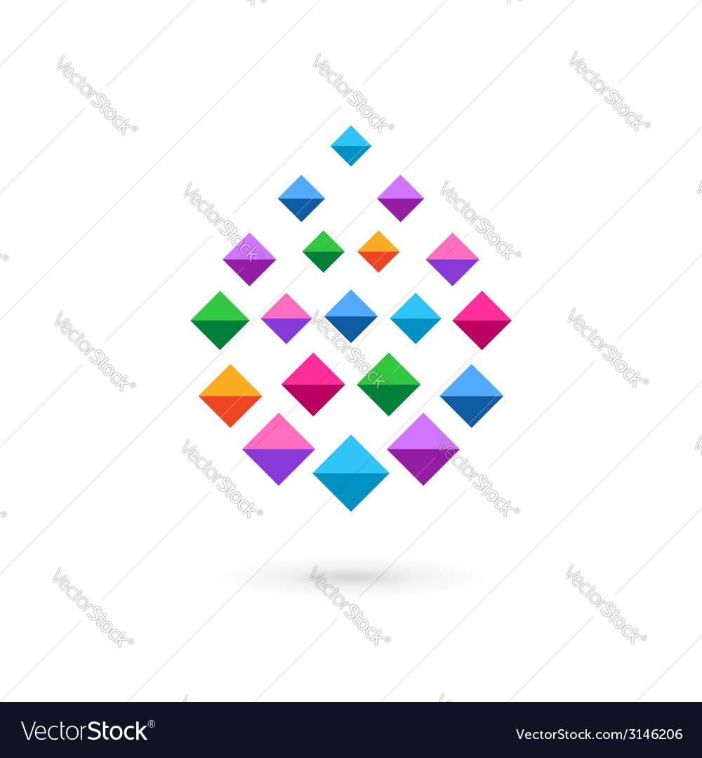 Water drop mosaic crystal logo icon vector | Price: 1 Credit (USD $1)
