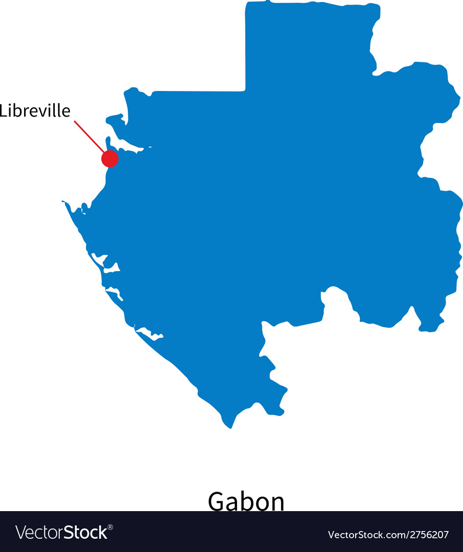 Detailed map of gabon and capital city libreville vector | Price: 1 Credit (USD $1)