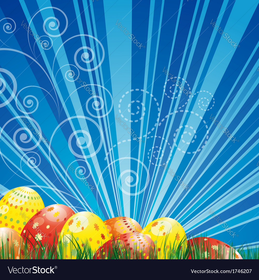 Easter background with colorful easter eggs over vector | Price: 3 Credit (USD $3)