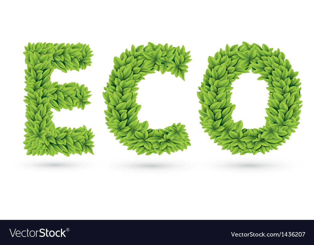Eco text of green leaves vector | Price: 1 Credit (USD $1)