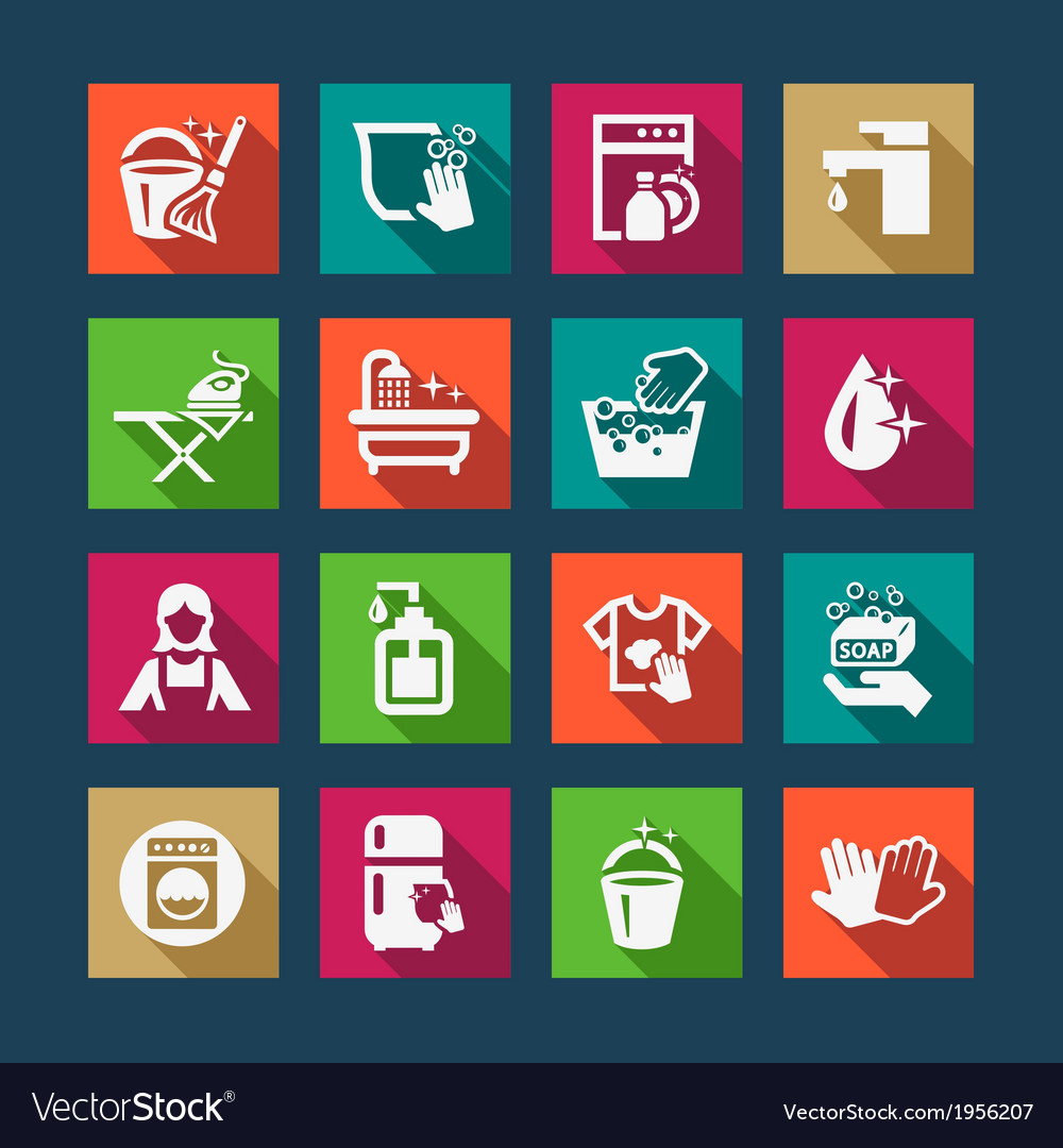 Flat cleaning icons vector | Price: 1 Credit (USD $1)