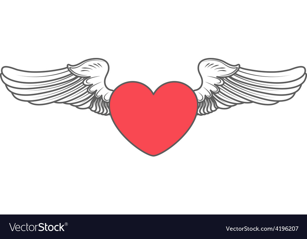 Heart angel design elements vector | Price: 1 Credit (USD $1)