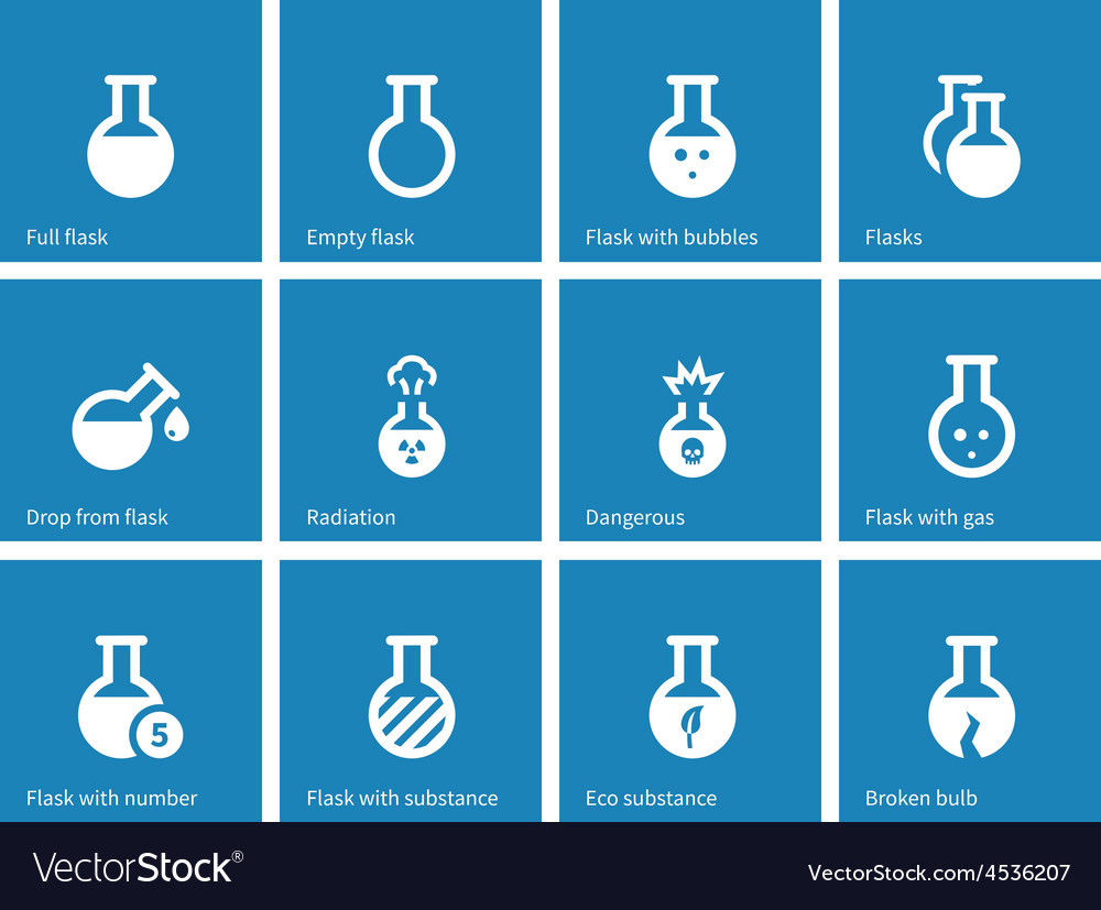 Laboratory glass icons on blue background vector | Price: 1 Credit (USD $1)