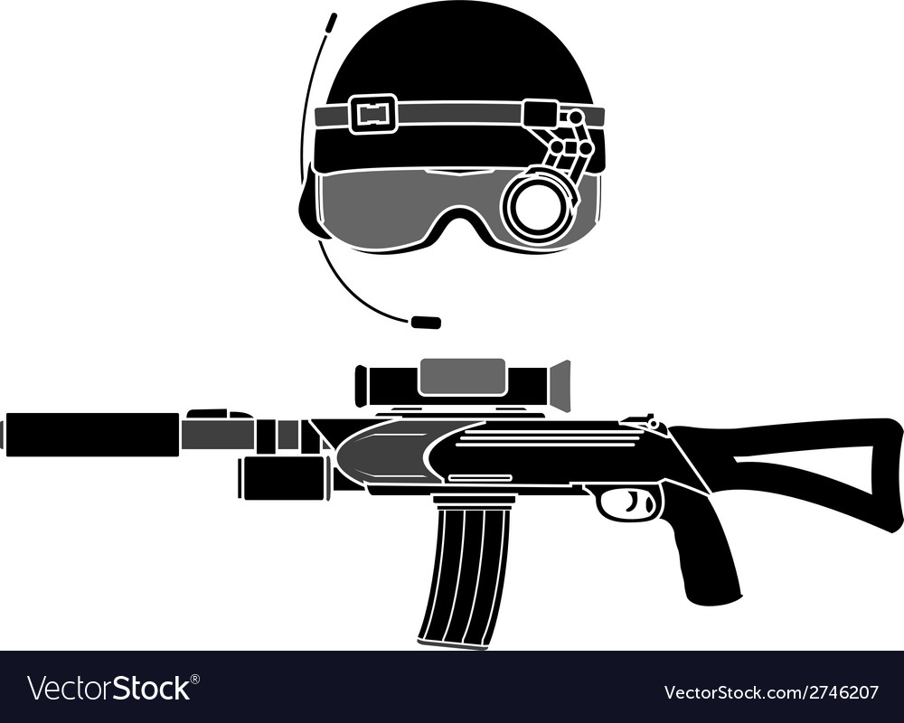 Military helmet and assault rifle vector | Price: 1 Credit (USD $1)