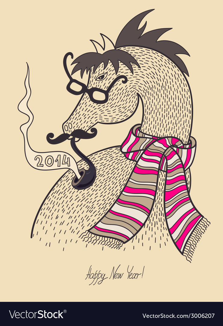 Original hipster horse in glasses mustache smoking vector | Price: 1 Credit (USD $1)