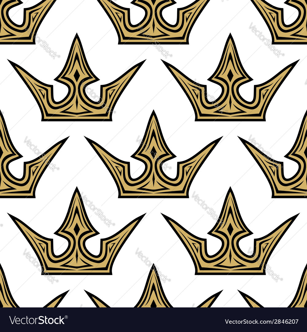 Seamless pattern of golden crowns vector | Price: 1 Credit (USD $1)