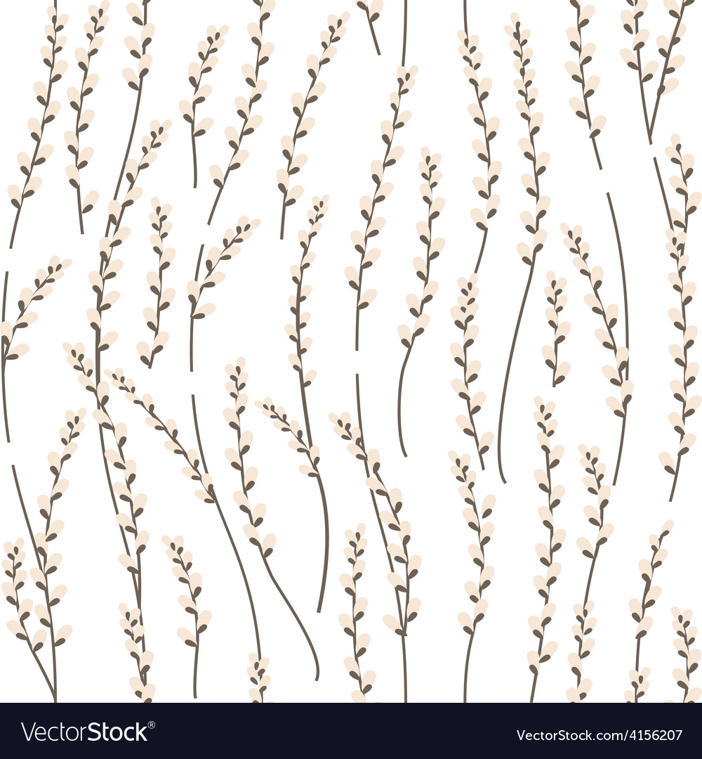 Seamless pattern with willow branches vector | Price: 1 Credit (USD $1)