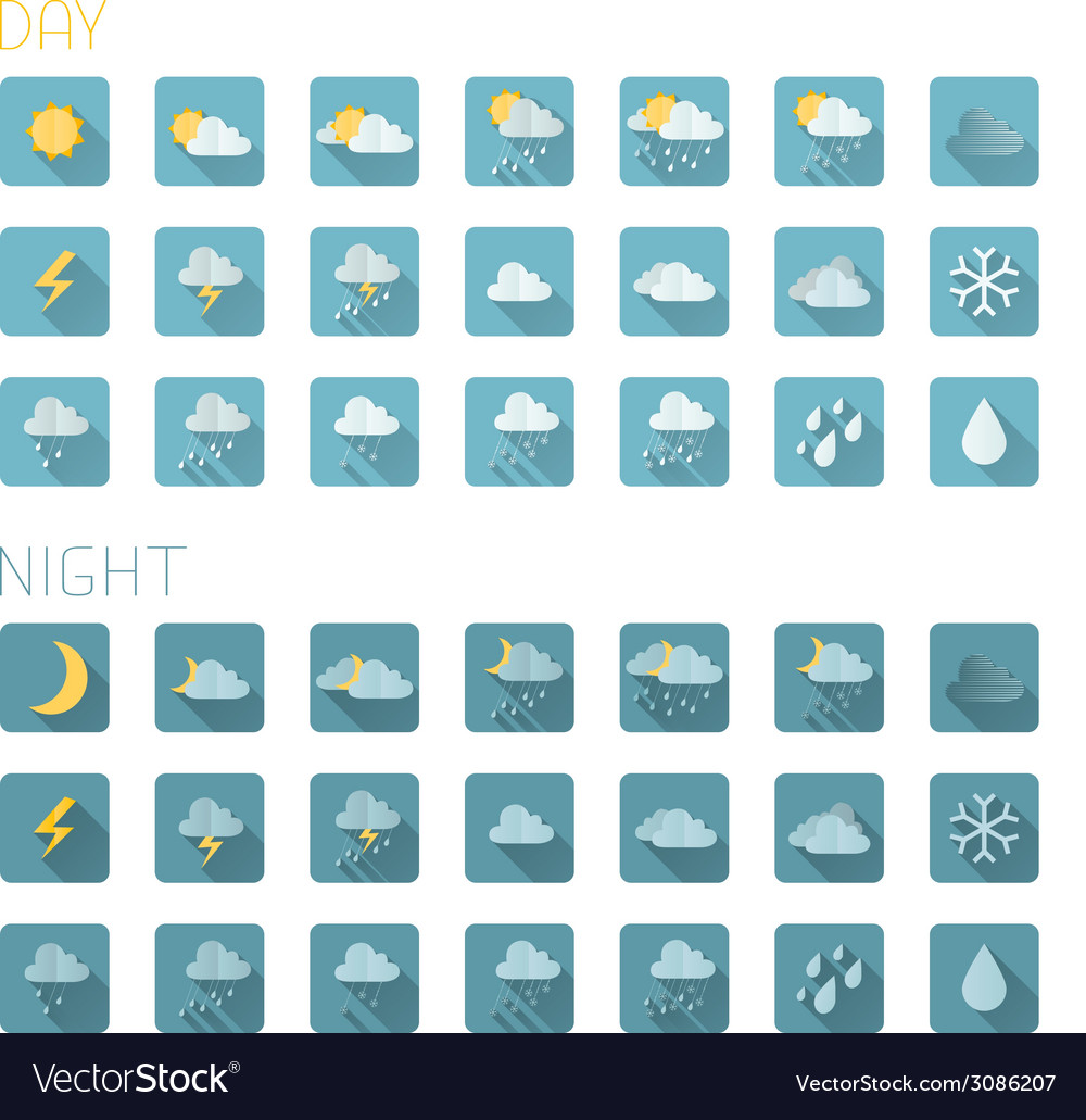 Set of square flat weather icons isolated on white vector | Price: 1 Credit (USD $1)