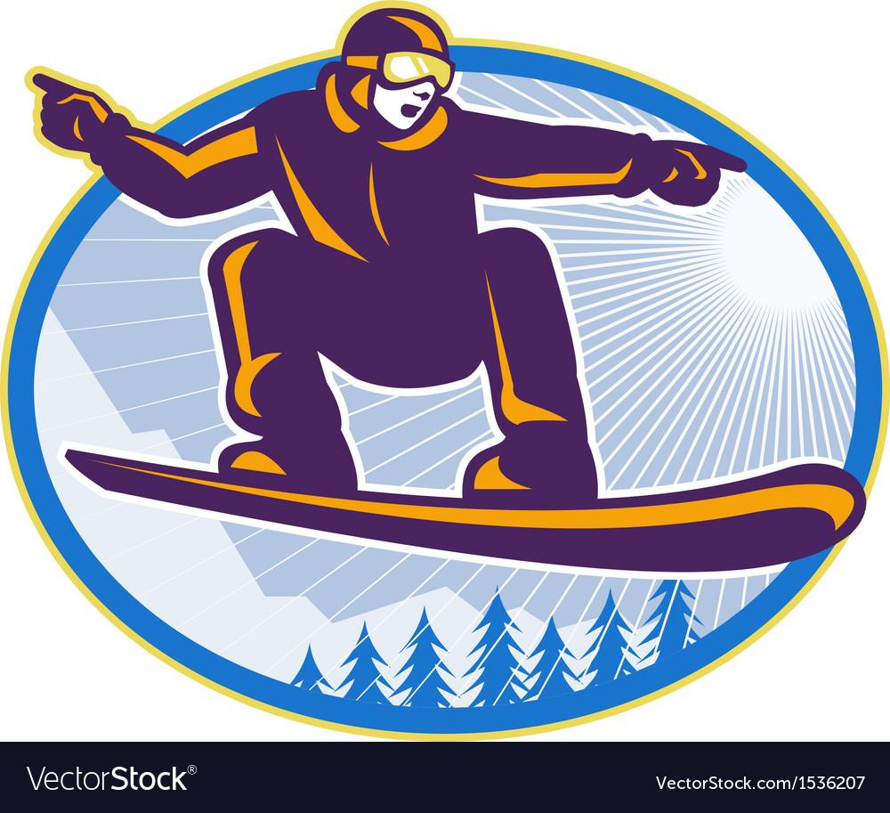 Snowboarder holding snowboard retro vector | Price: 1 Credit (USD $1)