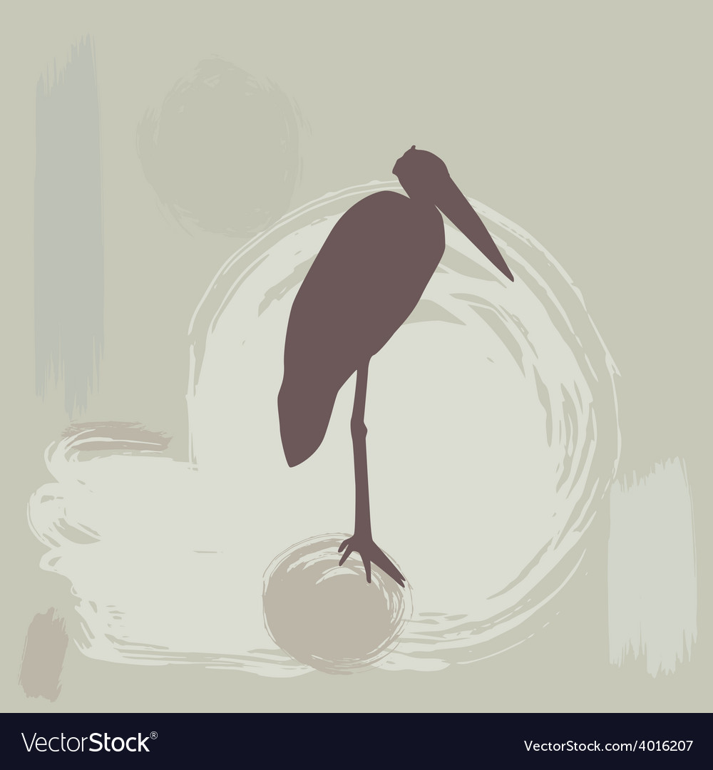Stork silhouette on grunge background vector   Price: 1 Credit (USD $1)