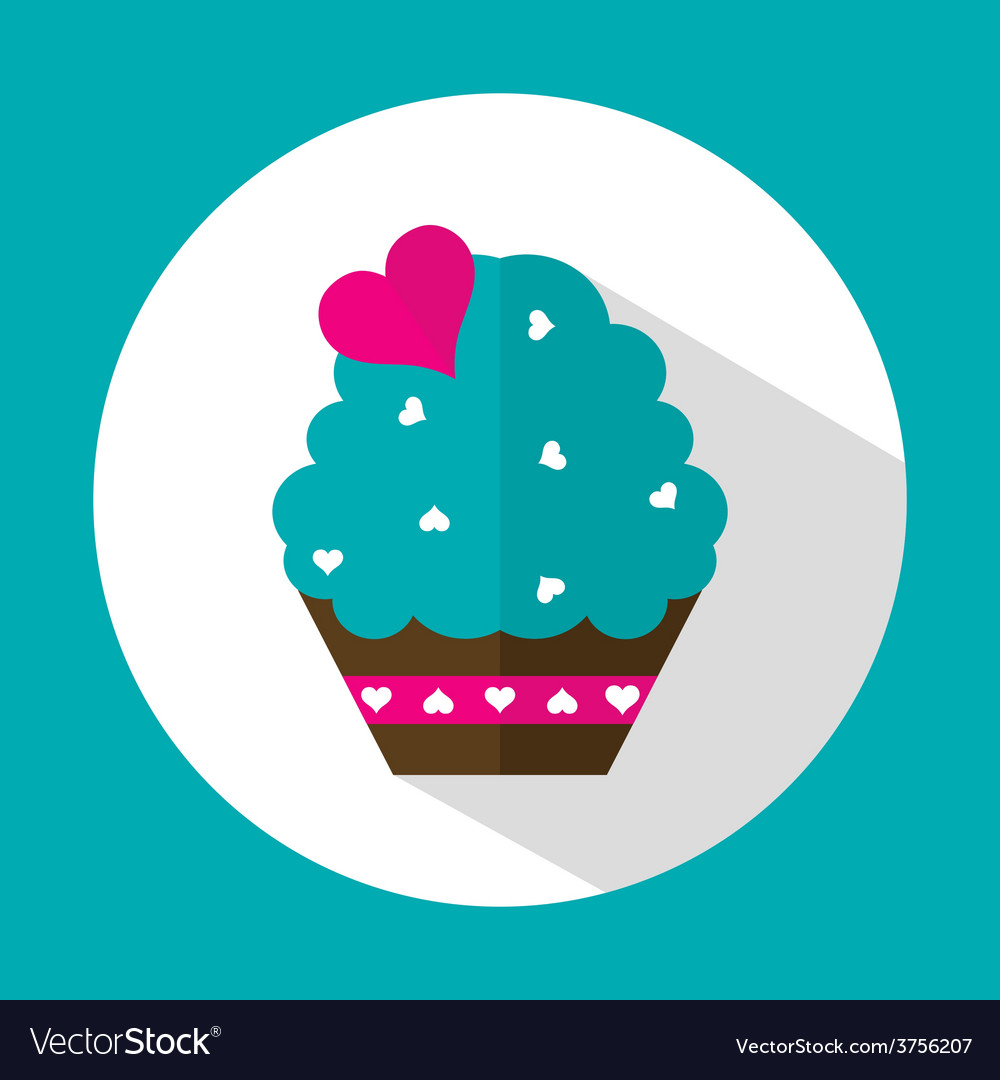 Valentine cake flat icon with long shadow vector   Price: 1 Credit (USD $1)
