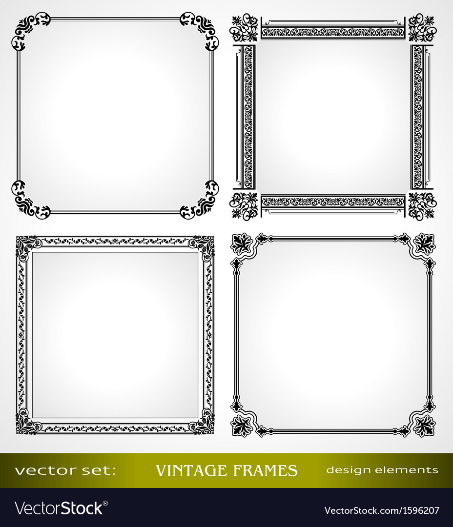 Vintage frames set for design vector | Price: 1 Credit (USD $1)