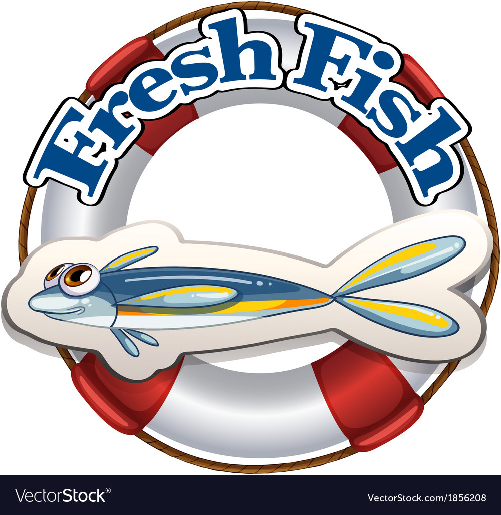 A fresh fish label vector | Price: 1 Credit (USD $1)