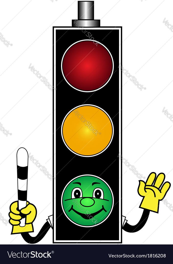 Cartoon green traffic light vector   Price: 1 Credit (USD $1)