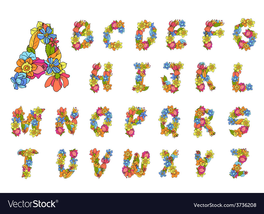 Flowers alphabet colored vector | Price: 1 Credit (USD $1)