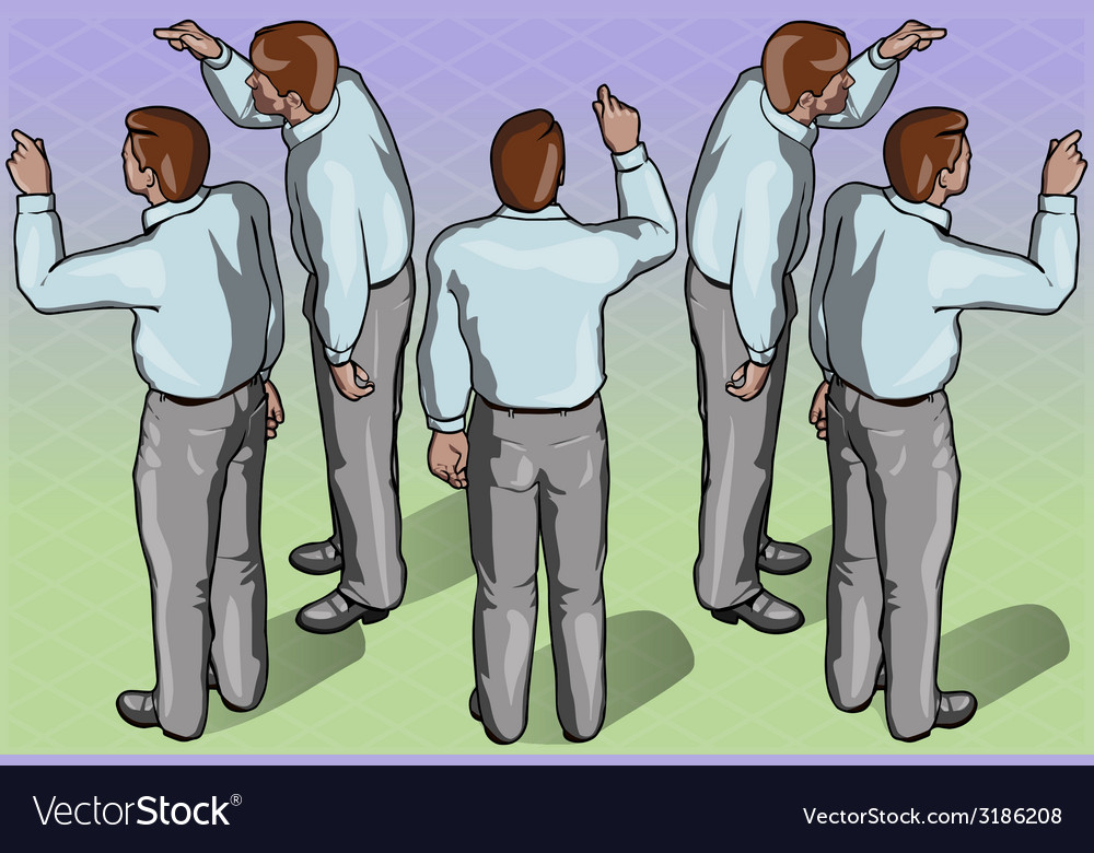 Isometric standing man indicating pose vector | Price: 3 Credit (USD $3)
