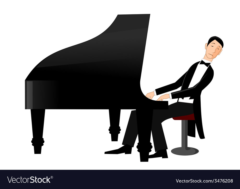 Man playing piano with passion vector | Price: 1 Credit (USD $1)