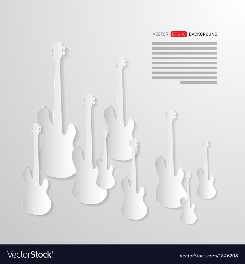 Music background guitars made from paper vector | Price: 1 Credit (USD $1)
