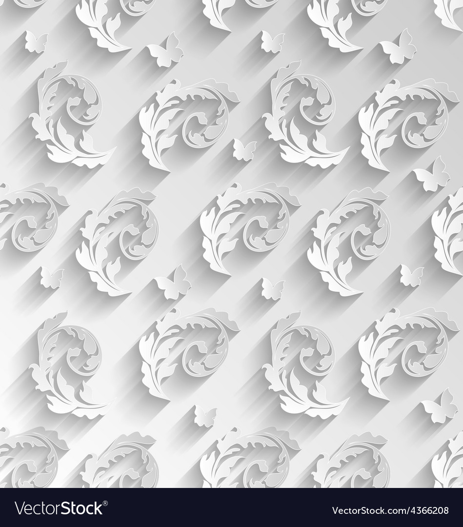 Paper cut seamless pattern with floral elements vector | Price: 1 Credit (USD $1)