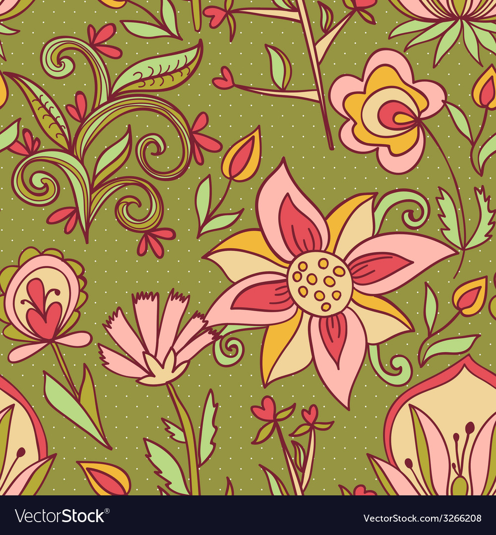 Seamless texture with flowers vector | Price: 1 Credit (USD $1)