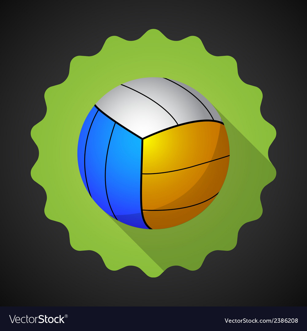 Sport ball voleyball flat icon background vector | Price: 1 Credit (USD $1)