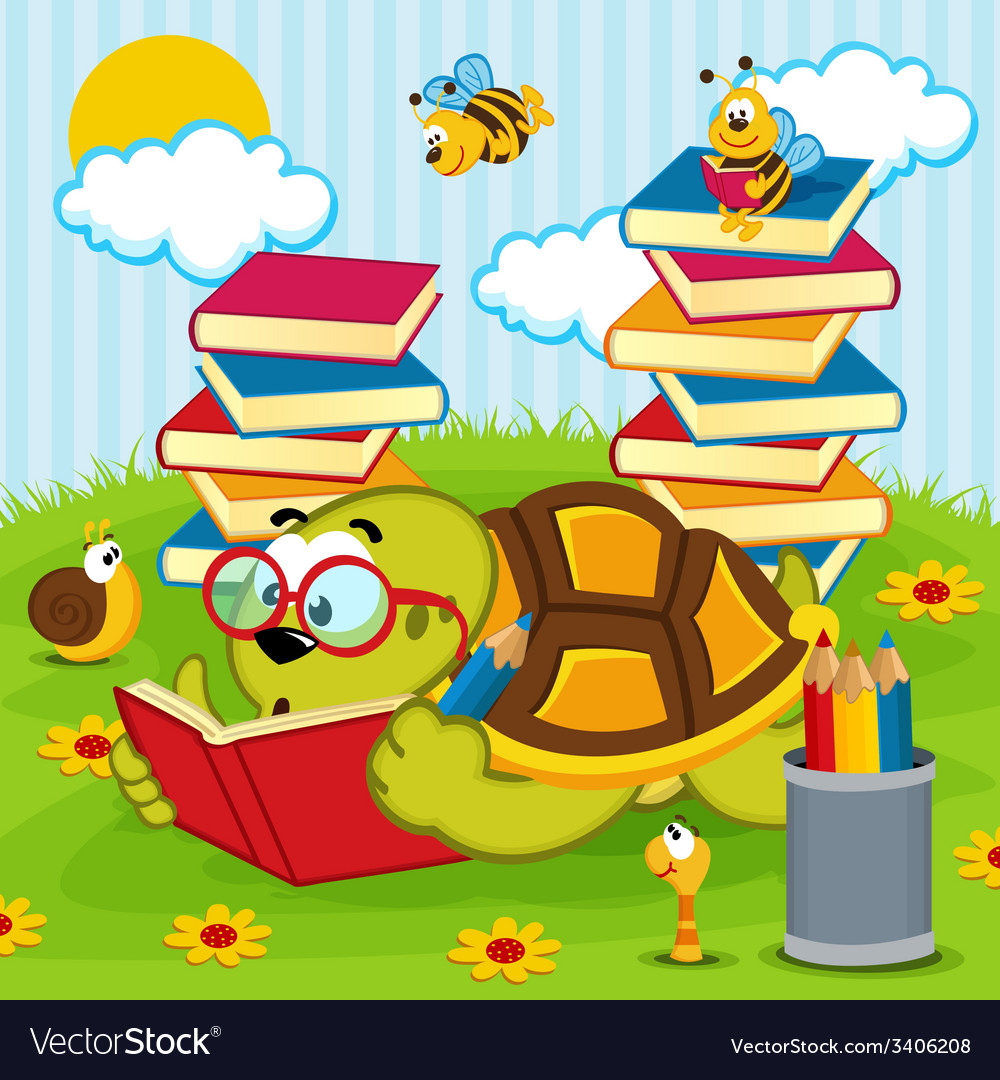 Turtle reading book vector | Price: 1 Credit (USD $1)
