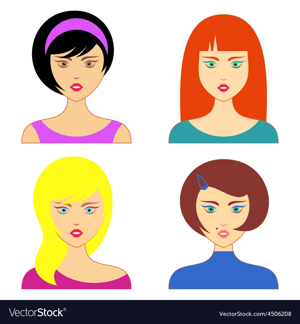 Woman faces vector | Price: 1 Credit (USD $1)