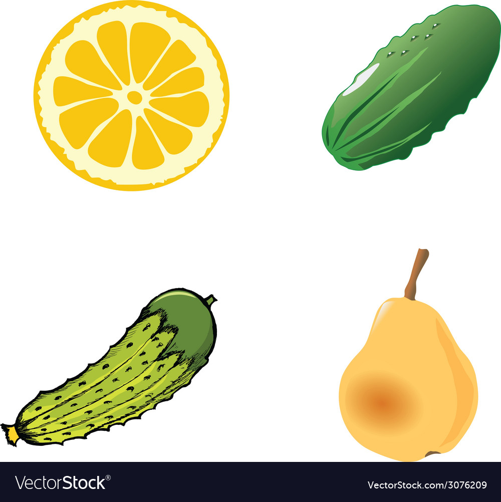 A piece of the cutting lemon on whiteone green cuc vector | Price: 1 Credit (USD $1)