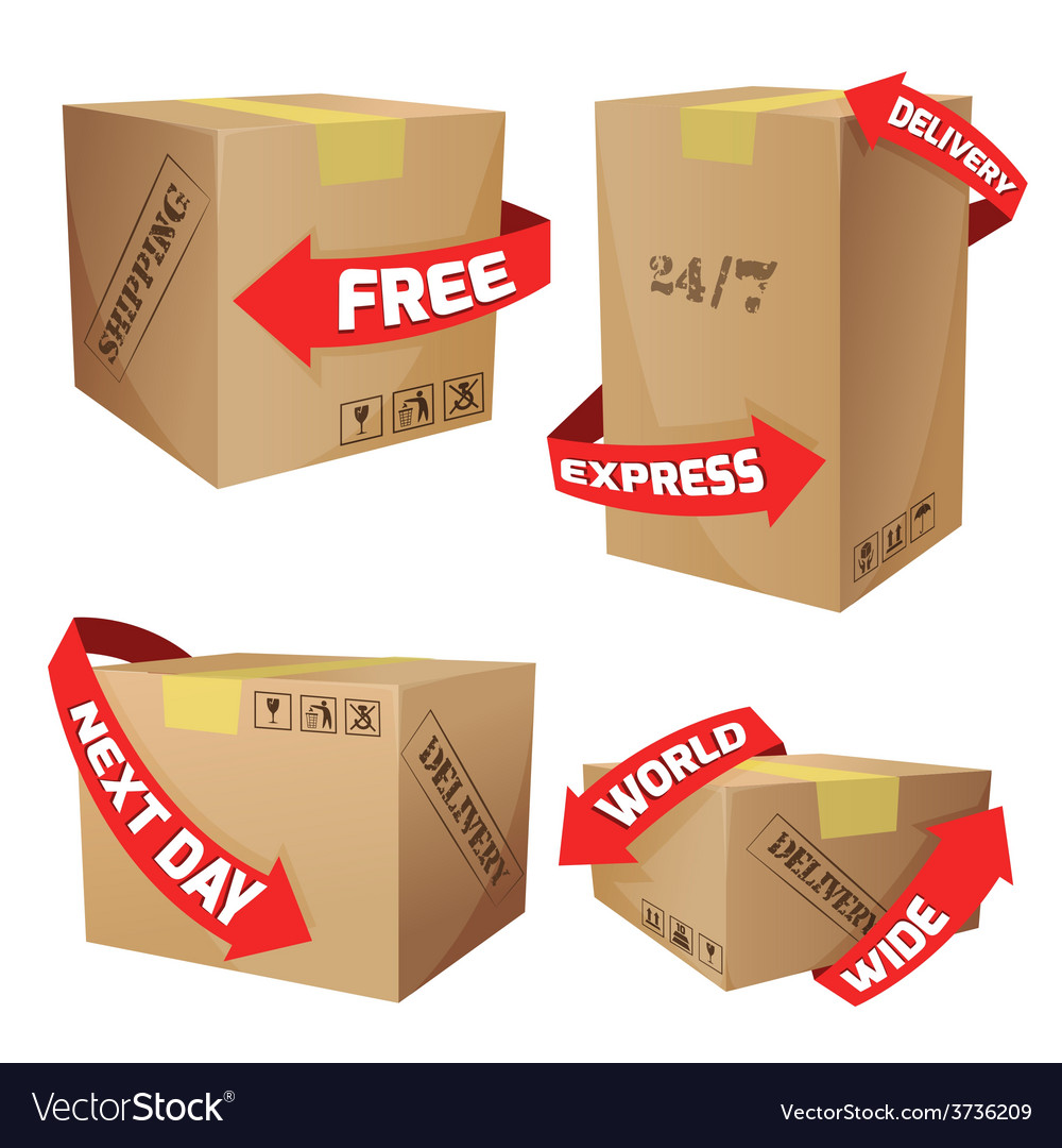 Boxes with delivery symbols vector | Price: 1 Credit (USD $1)