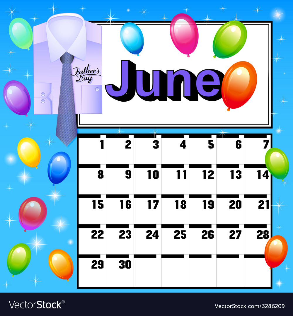 Calendar for july fathers day vector | Price: 1 Credit (USD $1)